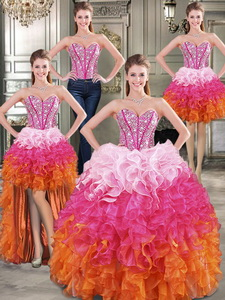 Visible Boning Beaded Bodice And Ruffled Detachable Quinceanera Dress In Rainbow