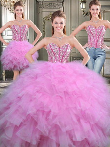 Lovely Beaded And Ruffled Tulle Detachable Quinceanera Dress In Lilac