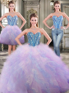 Fashionable Beaded And Ruffled Detachable Quinceanera Dress In Rainbow