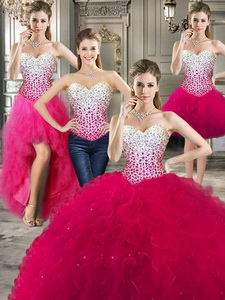 Best Really Puffy Red Detachable Quinceanera Dress With Beading And Ruffles