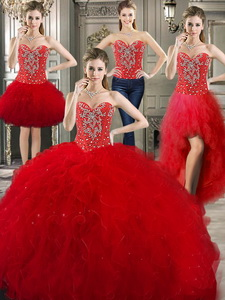 Romantic Tulle Red Detachable Sweet 16 Dress With Beading And Ruffles