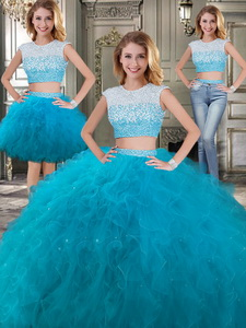 Two Piece Scoop Cap Sleeves Detachable Sweet 16 Dress With Beading And Ruffles