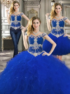 Latest Off The Shoulder Cap Sleeves Detachable Quinceanera Dress With Beading And Ruffles