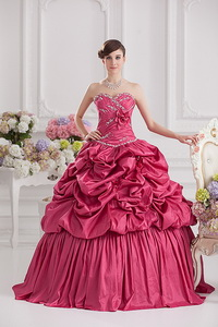 Spring Ball Gown Sweetheart Hand Made Flowers Beading Pick-ups Quinceanera Dress In Red