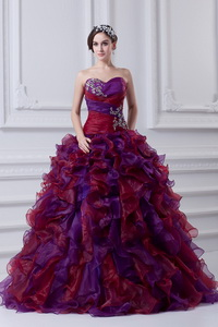 Multi-color Sweetheart Ball Gown Beading Quinceanera Dress With Ruffles