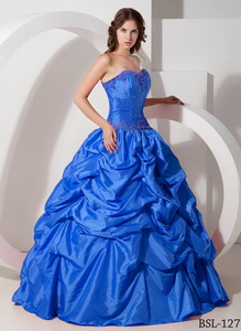 Blue Floor-length Taffeta Pick-ups and Beading Quinceanera Dress