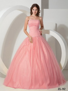 Ball Gown Strapless Tulle Beading Quinceanera Dress in Watermelon