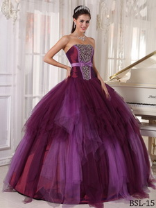 Ball Gown Strapless Floor-length Tulle Beading Quinceanera Dress
