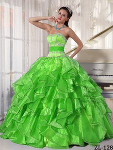 Strapless Ball Gown Floor-length Organza Appliques Quinceanera Dress