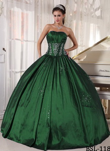 Ball Gown Strapless Floor-length Taffeta Embroidery and Beading Quinceanera Dress