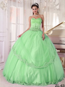 Apple Green Ball Gown Sweetheart Floor-length Taffeta and Tulle Appliques Quinceanera Dress