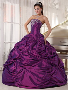 Purple Ball Gown Strapless Floor-length Taffeta Embroidery Quinceanera Dress