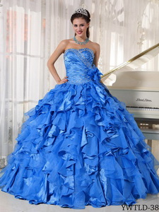 Blue Ball Gown Sweetheart Floor-length Organza Beading Quinceanera Dress