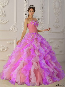 Multi-Color Ball Gown Strapless Floor-length Organza Hand Flowers and Ruffles Quinceanera Dress
