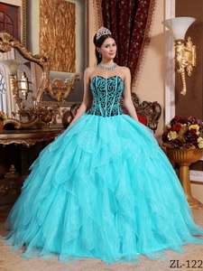 Aqua Blue and Black Sweetheart Embroidery with Beading Quinceanera Dress