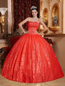 Red Ball Gown Sweetheart Floor-length Beading Quinceanera Dress