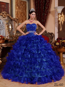 Royal Blue Ball Gown Sweetheart Floor-length Organza Beading Quinceanera Dress