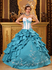 Turquoise Ball Gown Sweetheart Floor-length Ruffles And Embroidery TaffetaQuinceanera Dress