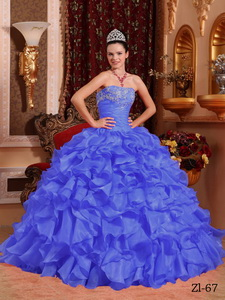 Purple Ball Gown Strapless Floor-length Organza Beading and Appliques Quinceanera Dress