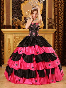Black And Red Ball Gown Strapless Floor-length Taffeta Beading Quinceanera Dress