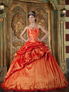 Orange Red Ball Gown Strapless Floor-length Pick-ups Taffeta Quinceanera Dress