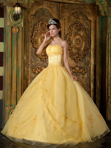 Yellow Ball Gown Strapless Floor-length Appliques Organza Quinceanera Dress