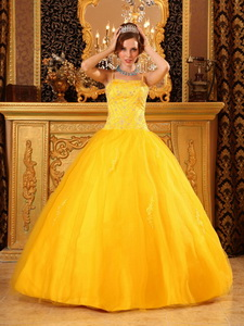 Cheap Ball Gown Spaghetti Straps Floor-length Beading Satin and Organza Orange Quinceanera Dress