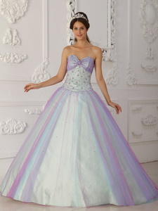 Multi-color Princess Sweetheart Floor-length Taffeta And Tulle Beading And Sequins Quincera
