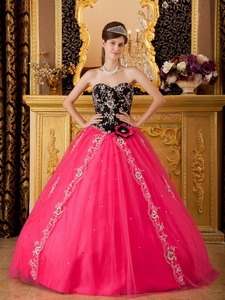 Hot Pink Princess Sweetheart Floor-length Tulle Beading Quinceanera Dress