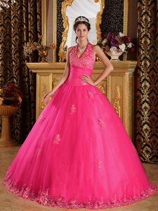 Hot Pink Ball Gown Halter Floor-length Appliques Tulle Quinceanera Dress