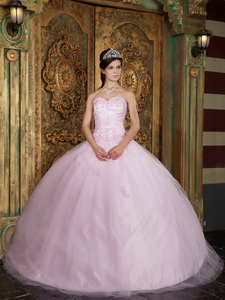 Baby Pink Ball Gown Sweetheart Floor-length Tulle Appliques Quinceanera Dress