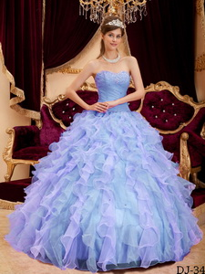 Lilac Ball Gown Sweetheart Floor-length Organza Beading Quinceanera Dress