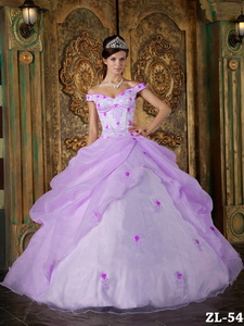 Lavender Ball Gown Off The Shoulder Floor-length Organza Appliques Quinceanera Dress