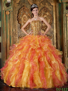 Multi-Color Ball Gown Strapless Floor-length Organza Beading and Ruffles Quinceanera Dress