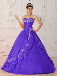 Purple Princess Sweetheart Floor-length Embroidery And Beading Quinceanera Dress