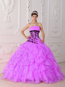 Sweet Hot Pink Strapless Appliques and Ruffles Quinceanera Dress