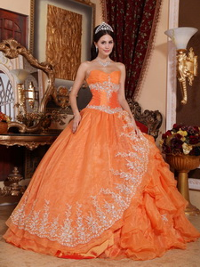 Orange Red Ball Gown Sweetheart Floor-length Organza Beading Quinceanera Dress