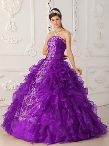 Purple Ball Gown Strapless Floor-length Satin and Organza Embroidery Quinceanera Dress