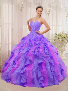 Multi-colored Ball Gown Sweetheart Floor-length Organza Appliques Quinceanera Dress