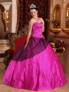 Fuchsia Ball Gown Sweetheart Floor-length Satin Embroidery with Beading Quinceanera Dress