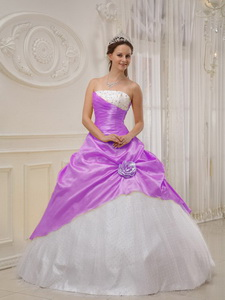 Ball Gown Beading Strapless Floor-length Purple and White Quinceanera Dress