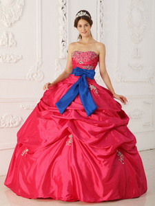Coral Red Ball Gown Strapless Floor-length Taffeta Beading and Sash Quinceanera Dress