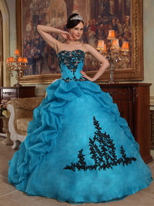 Blue Ball Gown Strapless Floor-length Taffeta and Organza Beading and Pick-ups Quinceanera Dress