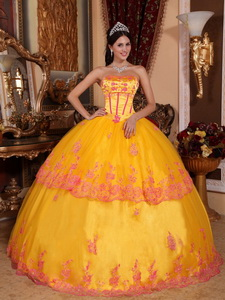Yellow Ball Gown Strapless Floor-length Organza Lace Appliques Quinceanera Dress