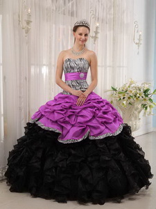 Brand New Fuchsia and Black Ball Gown Sweetheart Floor-length Quinceanera Dress