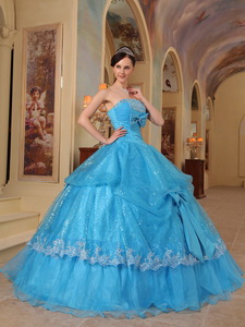 Blue Ball Gown Strapless Floor-length Bows Sequins and Organza Quinceanera Dress