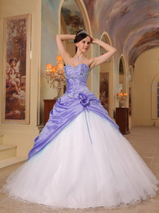 Lilac And White Princess Sweetheart Floor-length Beading Tulle And Taffeta Quinceanera Dres