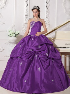 Lavender Ball Gown Sweetheart Floor-length Taffeta Beading Quinceanera Dress