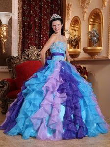 Multi-color Ball Gown Sweetheart Floor-length Organza Beading and Appliques Quinceanera Dress