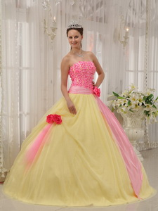 Pink and Yellow Ball Gown Strapless Floor-length Taffeta and Tulle Hand Made Flowers Quinceanera Dre